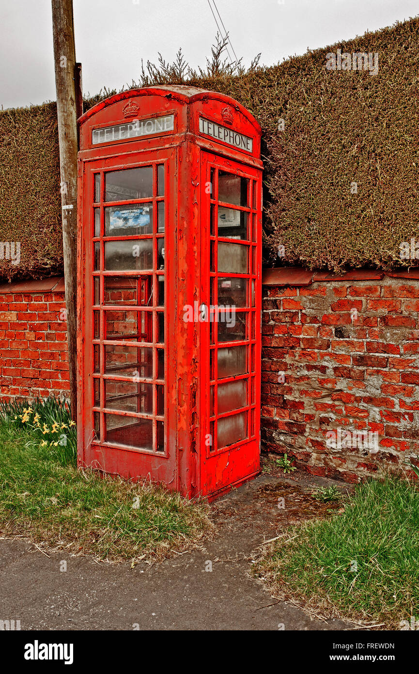 Telephone Box, Warthill, Yorkshire - Stock Image