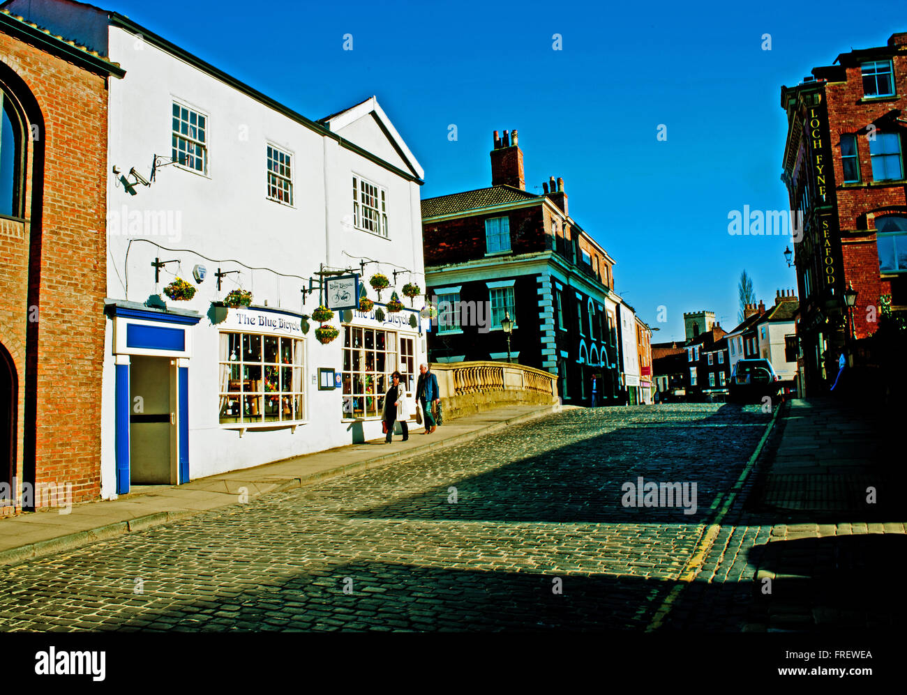 The Blue Bicycle, Fossgate York - Stock Image