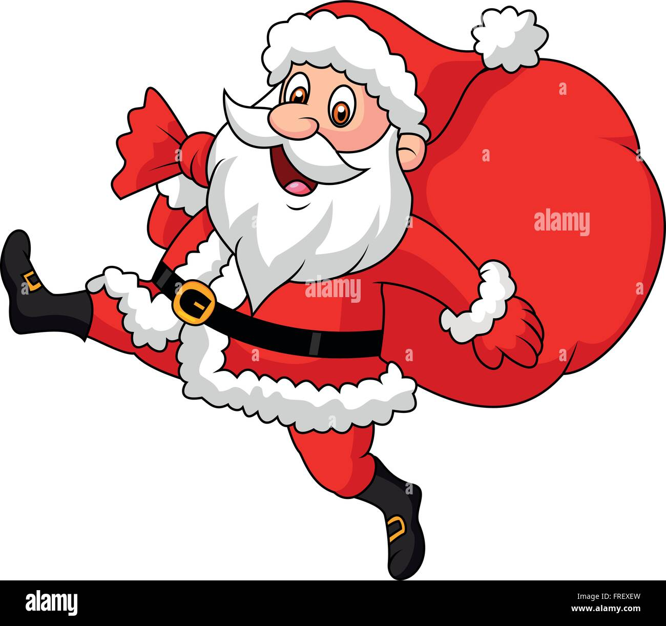 Santa Claus running with the bag of the presents - Stock Vector