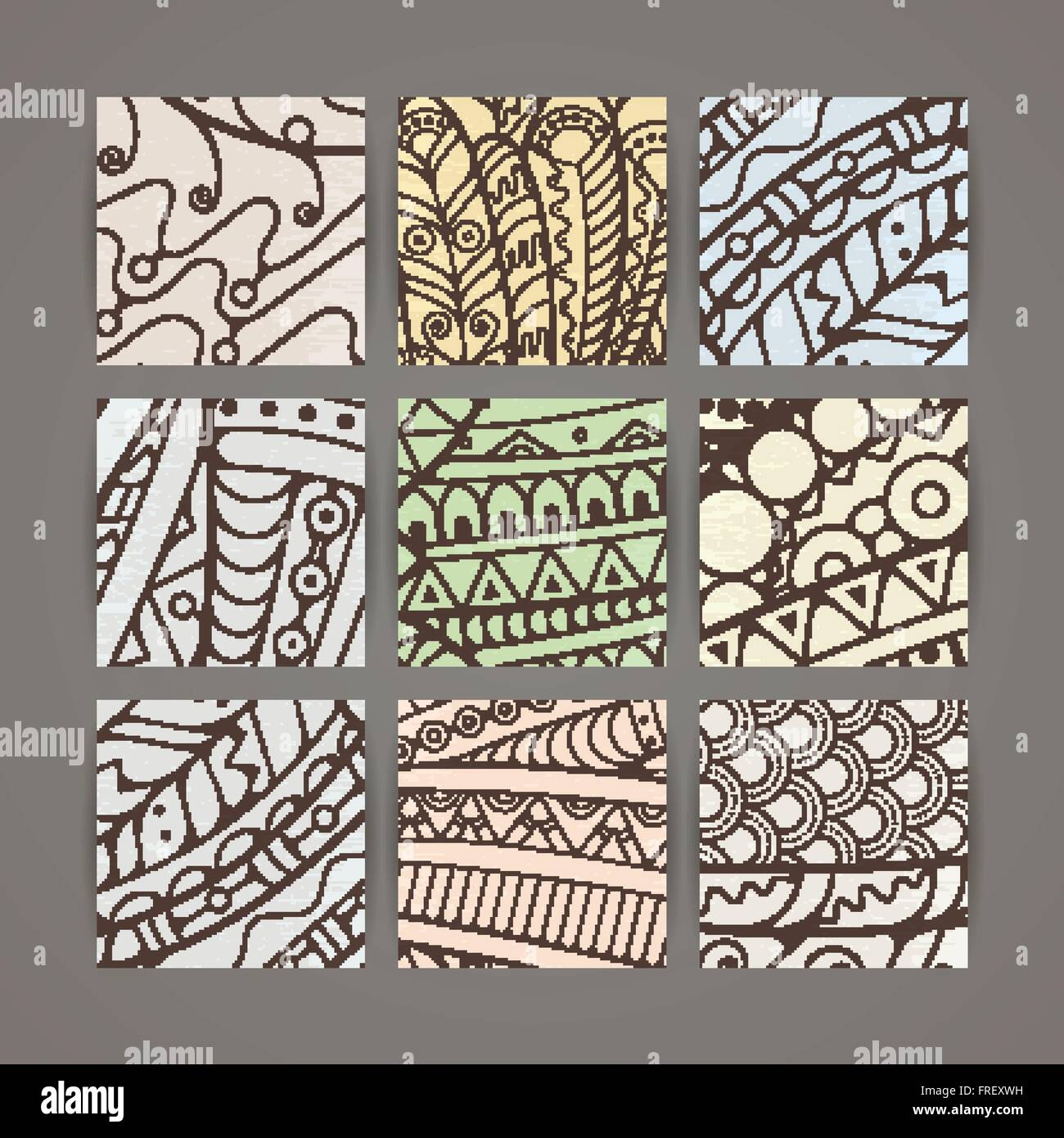 Set of four vector pastel intricate patterns  Doodle  Zentangle