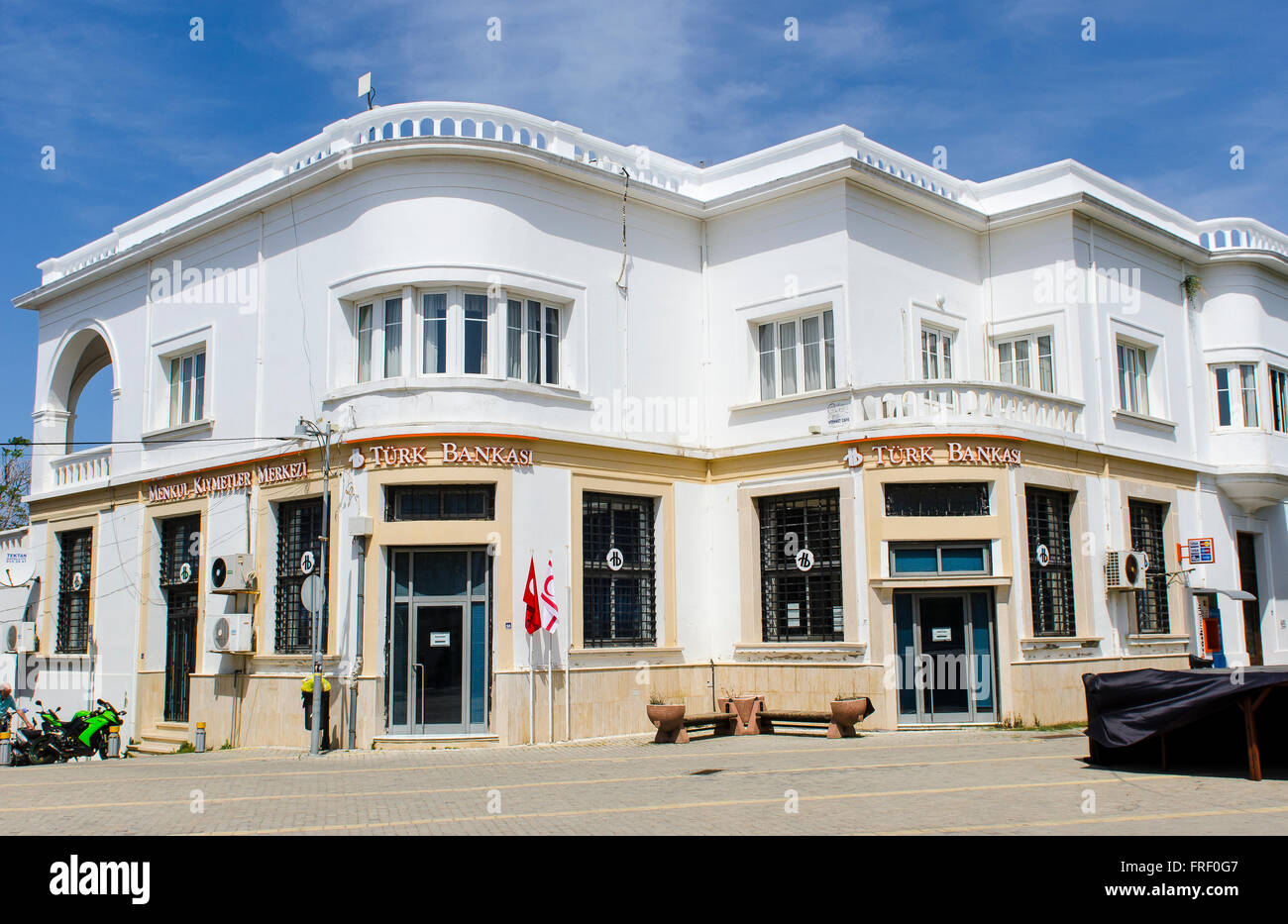 Branch of the Turkish Bank Turk Bankasi in the city of Kyrenia, Northern Cyprus. - Stock Image