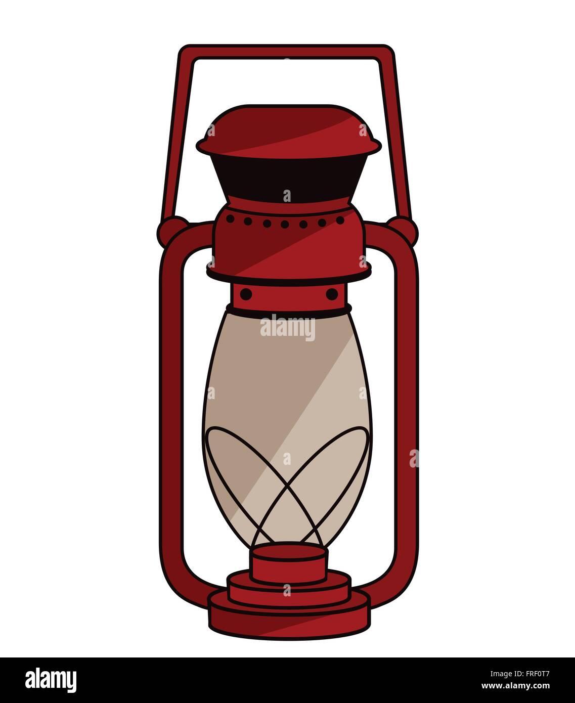 Red Lantern - Kerosene Lamp - Stock Vector