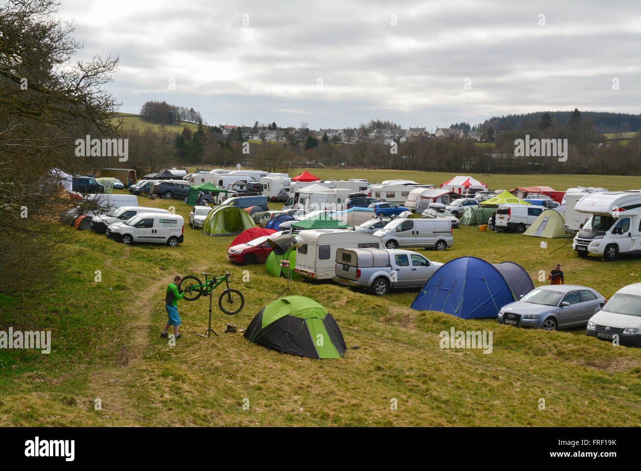 SDA (Scottish Downhill Association) race weekend at Ae Forest, Dumfries, Scotland, UK - with the village of Ae in - Stock Image