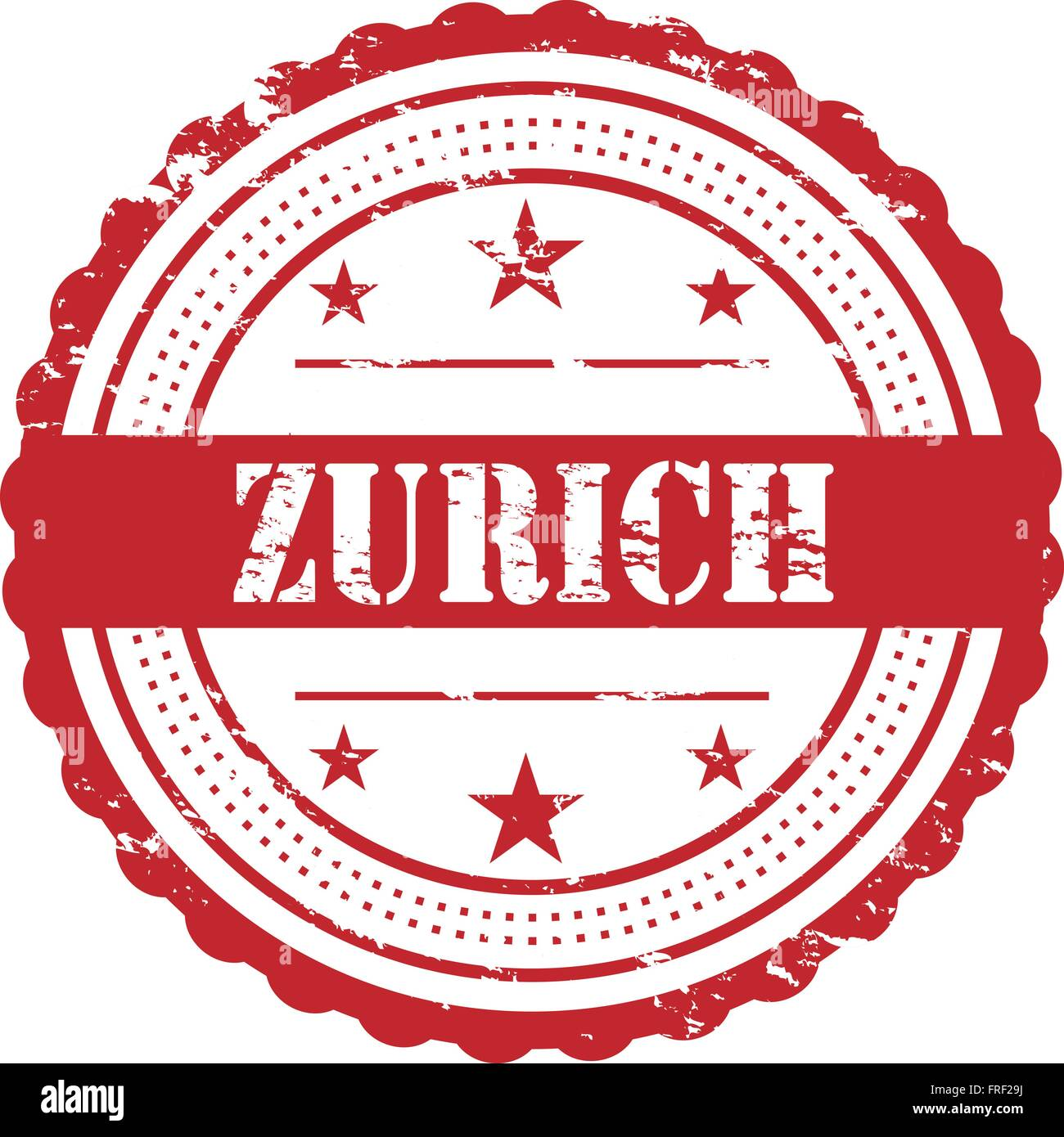 Zurich Destination City Red Stam - Stock Vector