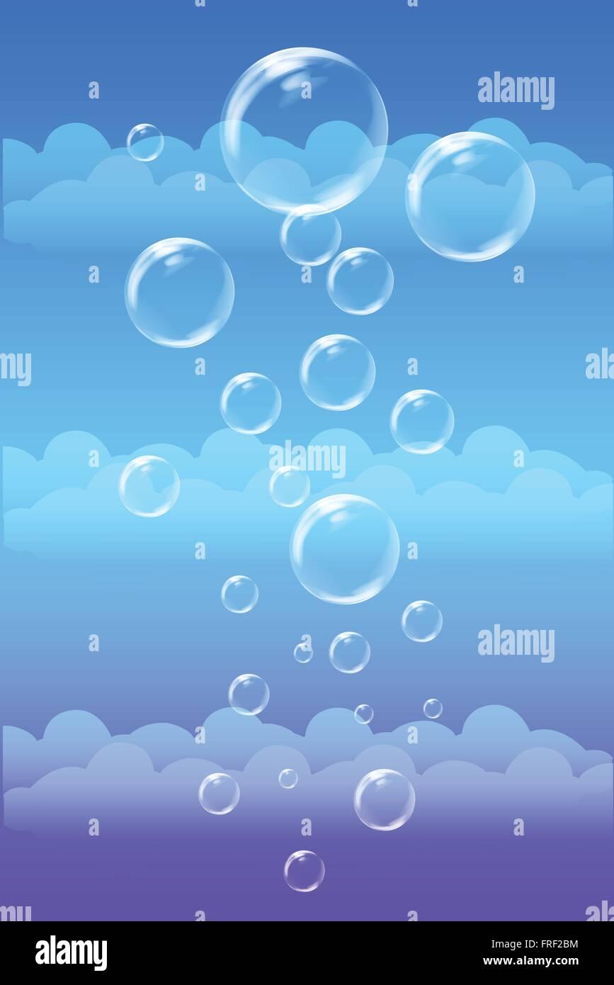 Blue Shiny Bubbles Background - Stock Vector