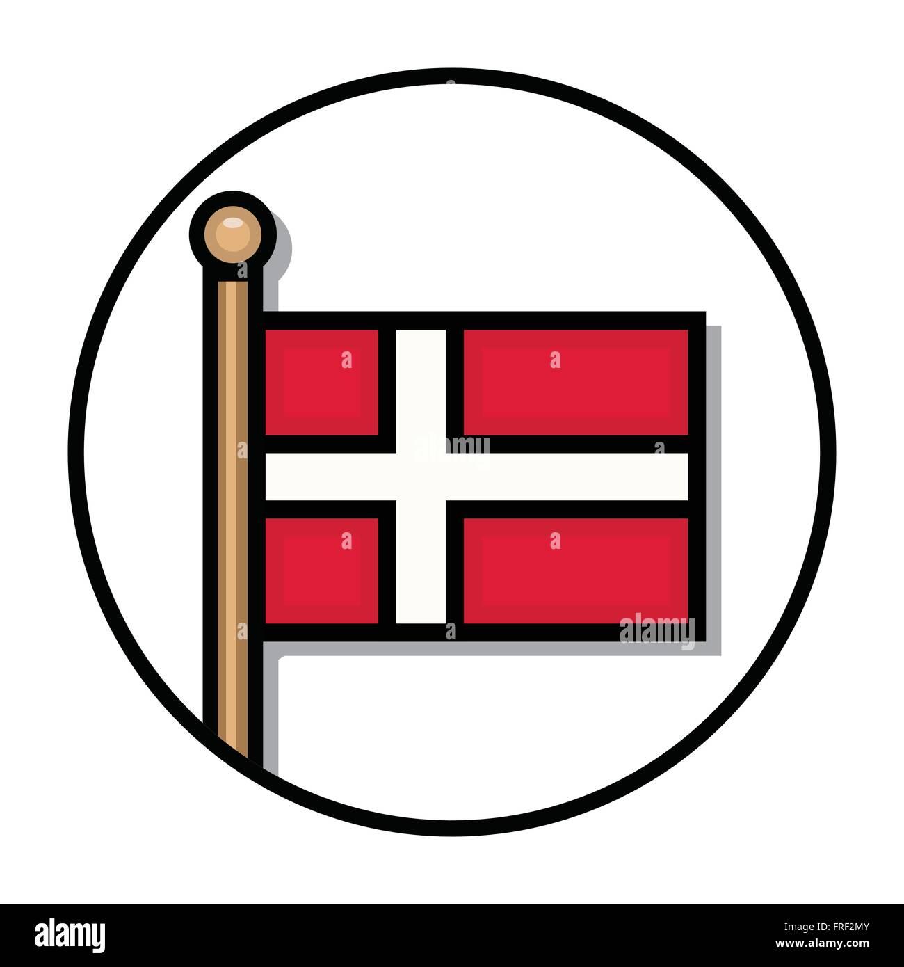 Flat Denmark Flag: Vector - Stock Vector