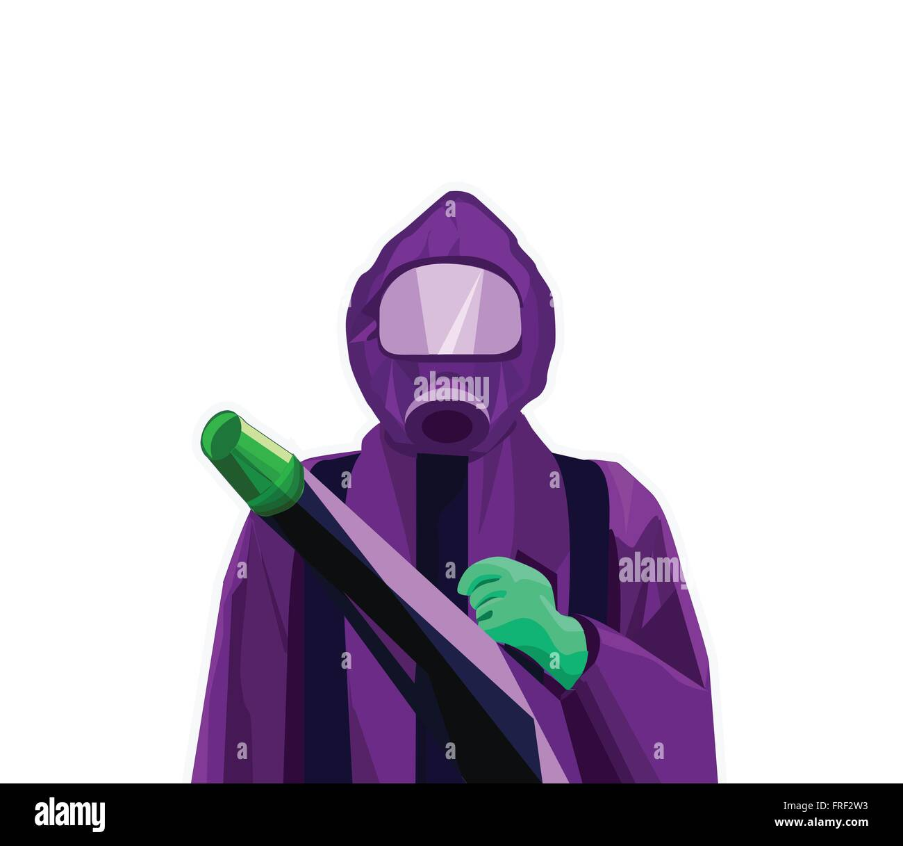 pest control exterminator man in purple suit and green gloves stock