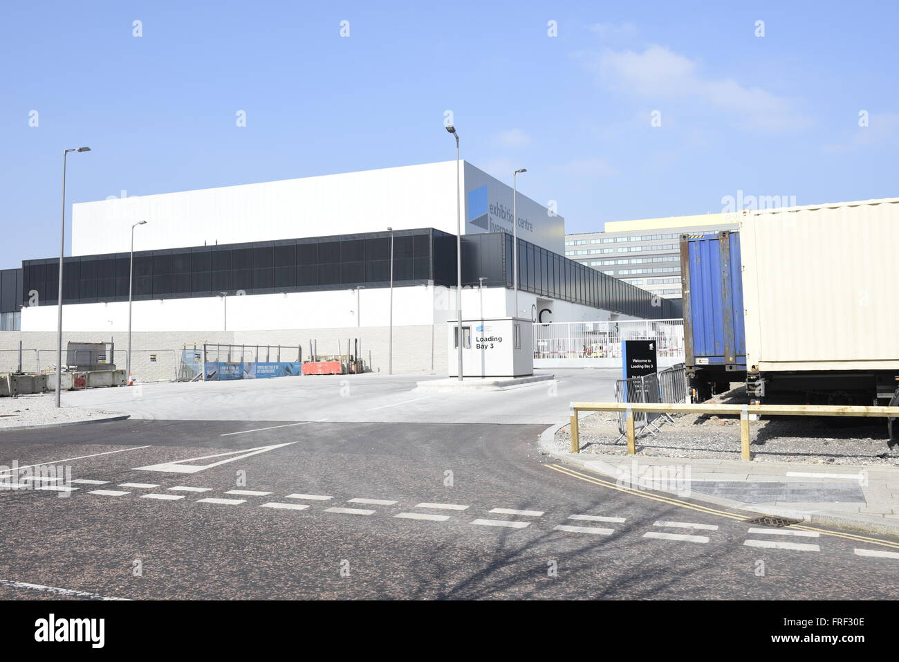 Loading bay entrance at the Exhibition Centre Liverpool, an 8,100m² purpose-built exhibition centre - Stock Image