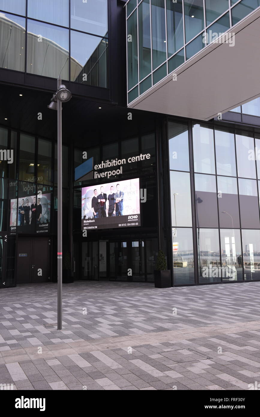 Main entrance at the Exhibition Centre Liverpool, an 8,100m² purpose-built exhibition centre and integrated - Stock Image