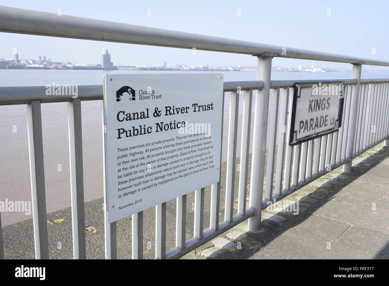 Canal and River Trust Public Notice, attached to railings on Kings Parade by the River Mersey, in central Liverpool, - Stock Image