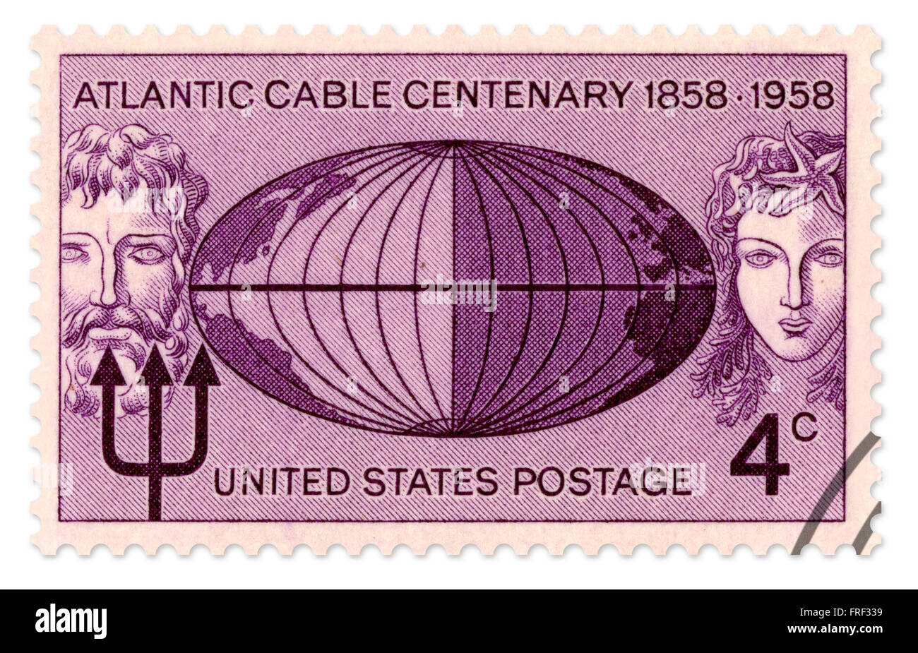 Commemorative United States stamp for the Atlantic Cable Centenary 1858-1958, issued in 1958 by the US Postal Service. - Stock Image