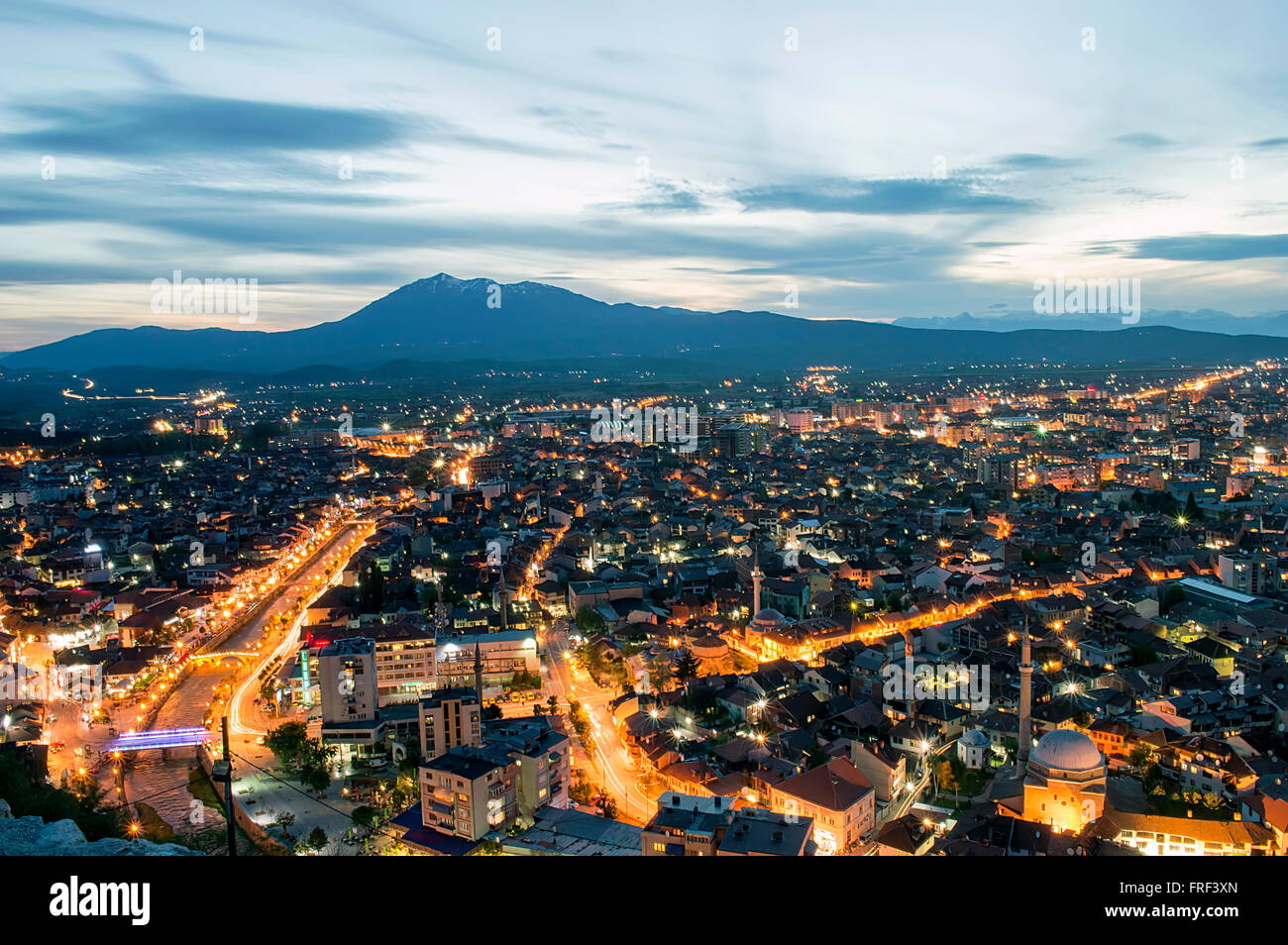 Prizren the second largest city in the Republic of Kosovo by night.Long exposure shot. - Stock Image