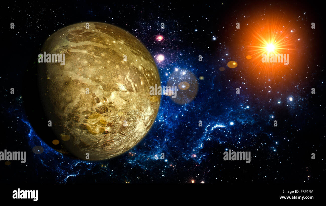 Ganymede Planet Solar System space isolated illustration - Stock Image