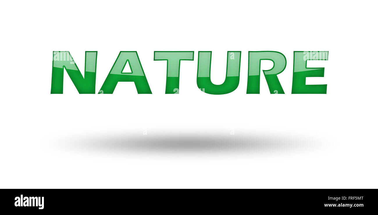 word nature with green letters and shadow