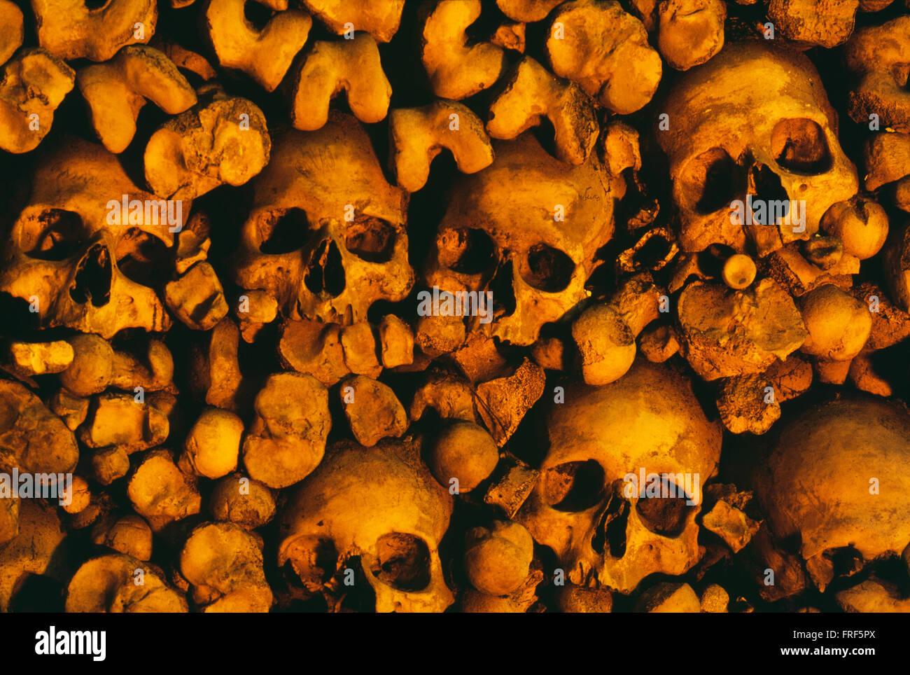 Human Skulls And Bones, Ossuary Chapel, Evora, Portugal - Stock Image
