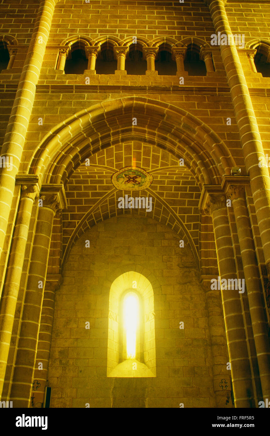 Window in a European Romanesque Cathedral - Stock Image