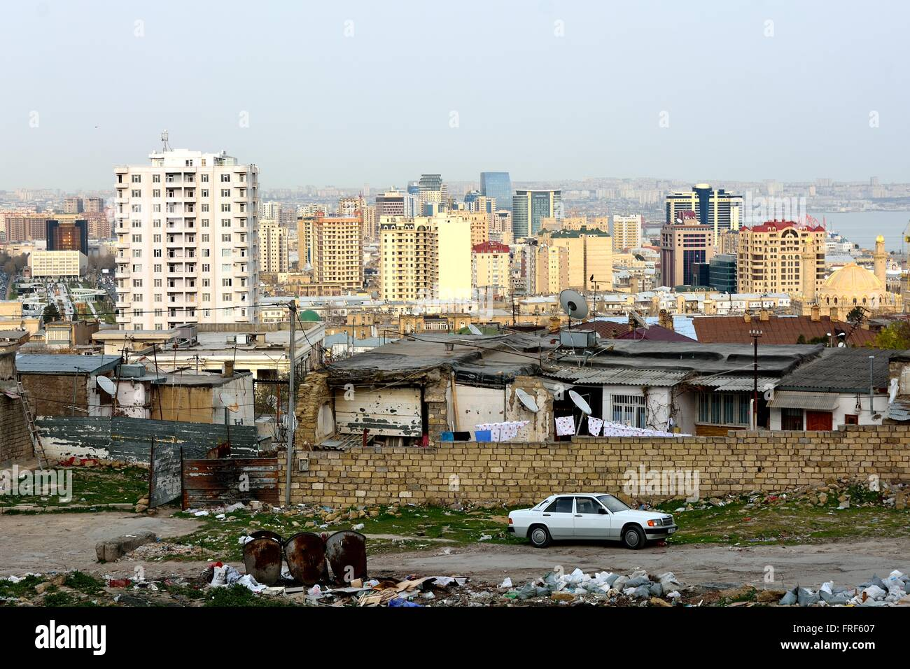 View of a scruffy area of Baku, capital city of Azerbaijan. A section in the north of Baku, showing unmodernized - Stock Image