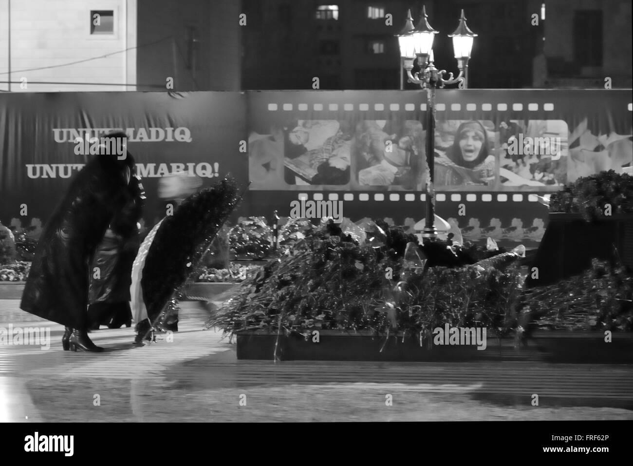 BAKU, AZERBAIJAN - 26 FEB 2014 Khojaly mourners on the anniversary of the massacre, in Baku, capital of Azerbaijan - Stock Image