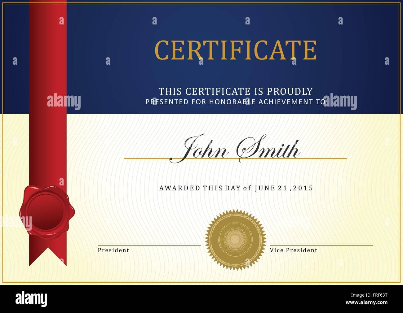 certificate template vector with ribbon vector stock vector art