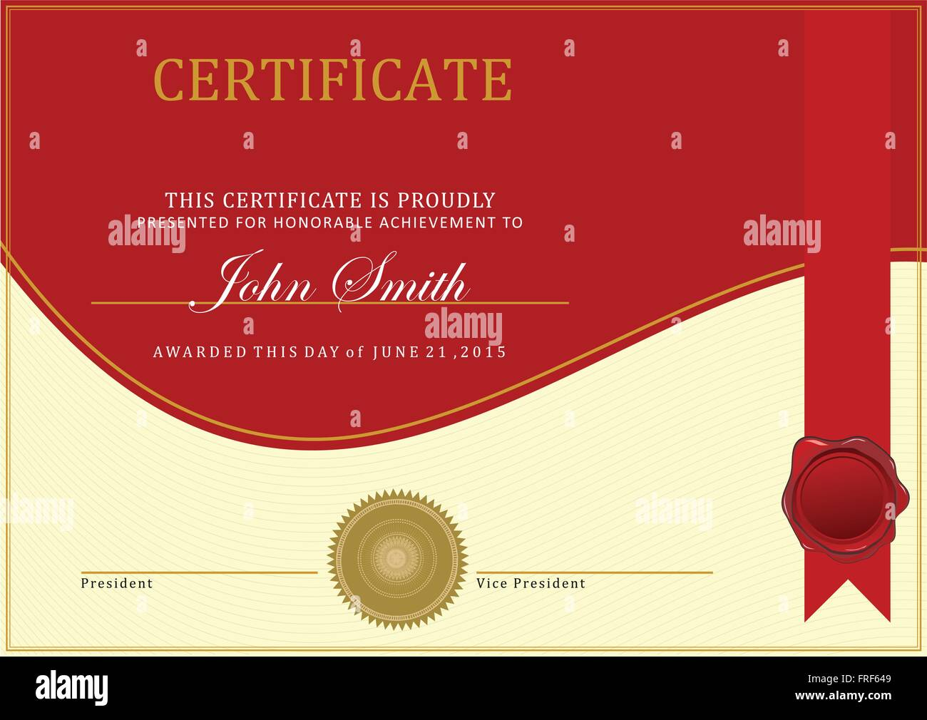 certificate template vector with ribbon vector