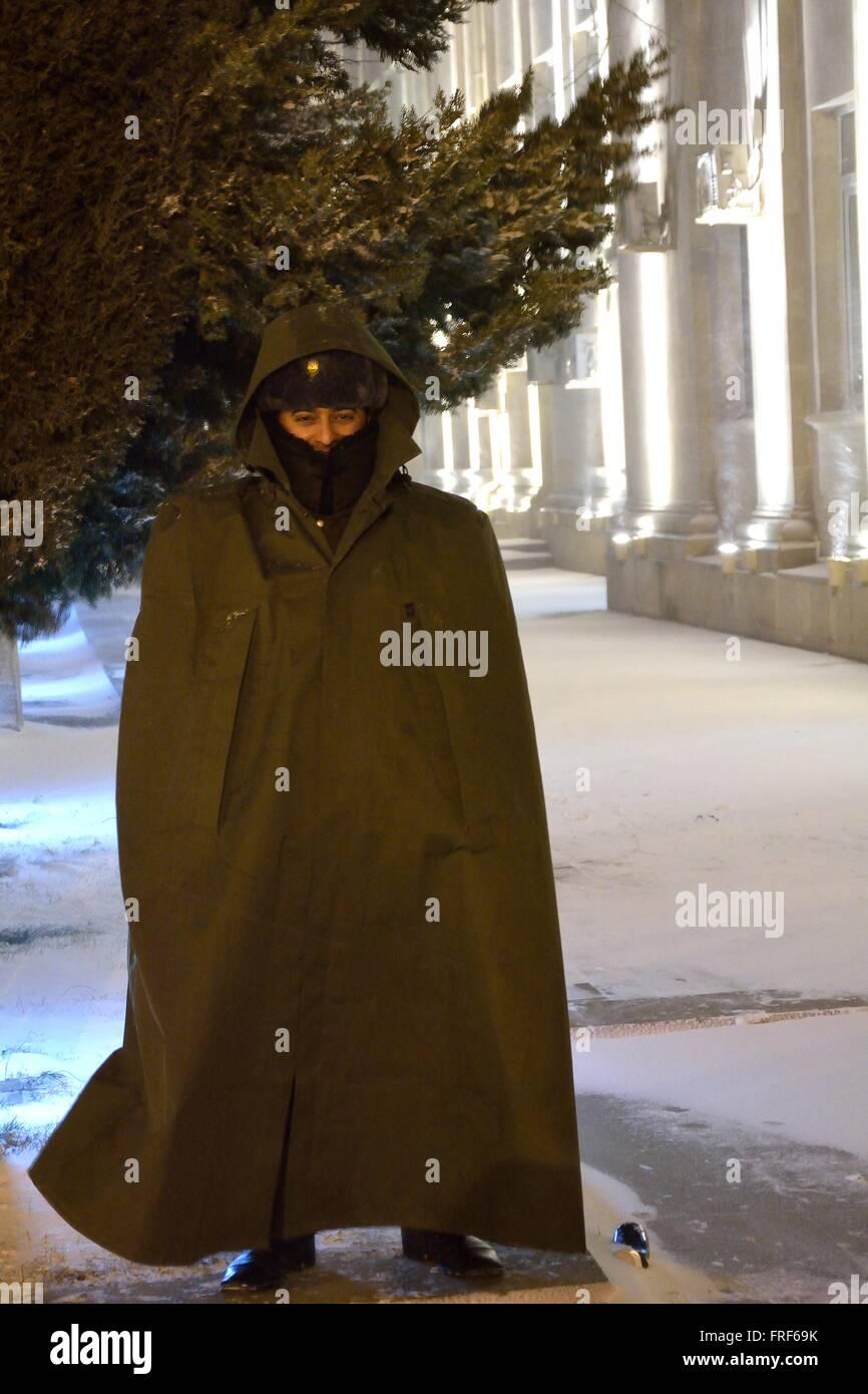 BAKU, AZERBAIJAN - JANUARY 31 2014 Azerbaijani soldier on guard in snow in Baku, in the capital of Azerbaijan. - Stock Image