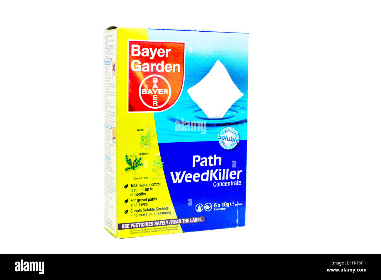 Path weedkiller kills weeds Bayer Garden product logo brand cutout cut out white background isolated UK England - Stock Image
