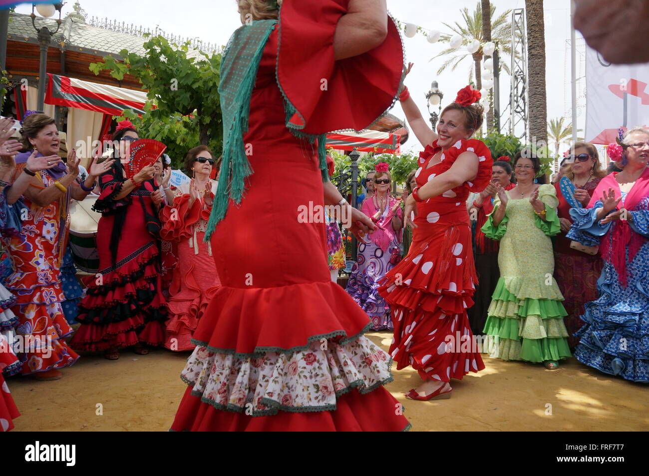 Andalucian Women during the Feria in Jerez -  08/05/2013  -  Spain / Andalusia / Jerez de la Frontera  -  Women - Stock Image