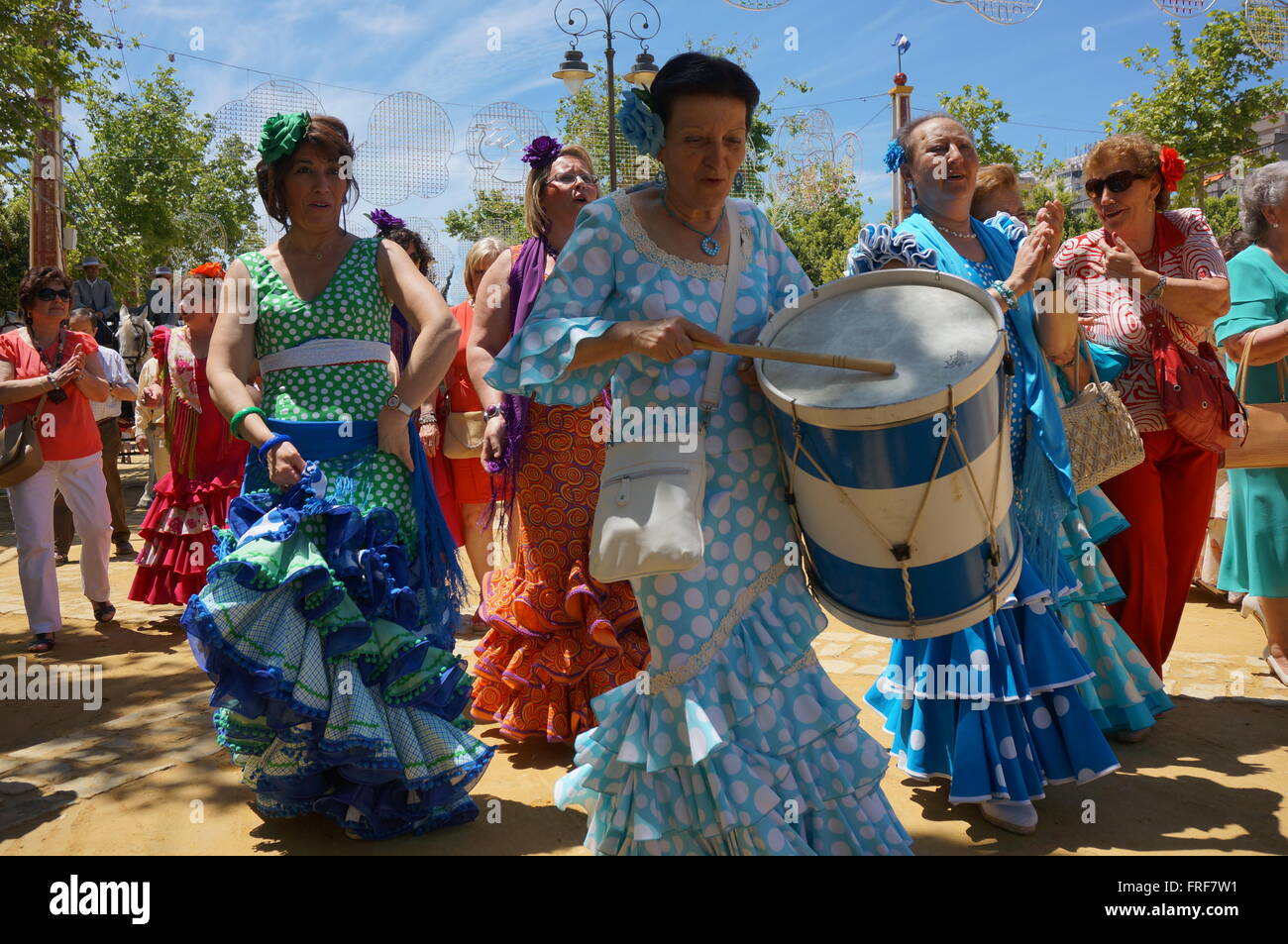 Andalucian Women during the Feria in Jerez -  09/05/2013  -  Spain / Andalusia / Jerez de la Frontera  -  Women - Stock Image
