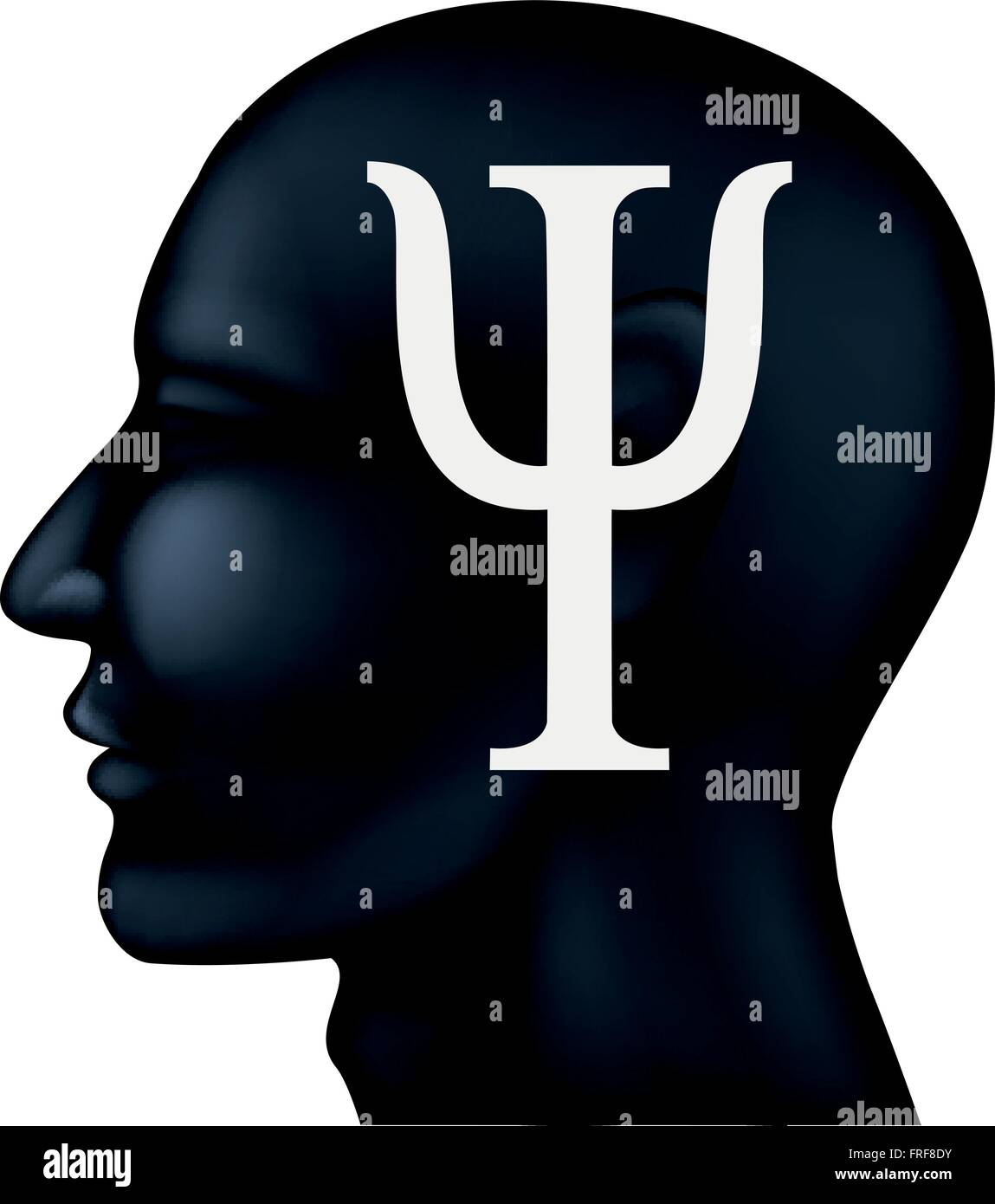 Psychiatry symbol on people silhouette - Stock Vector