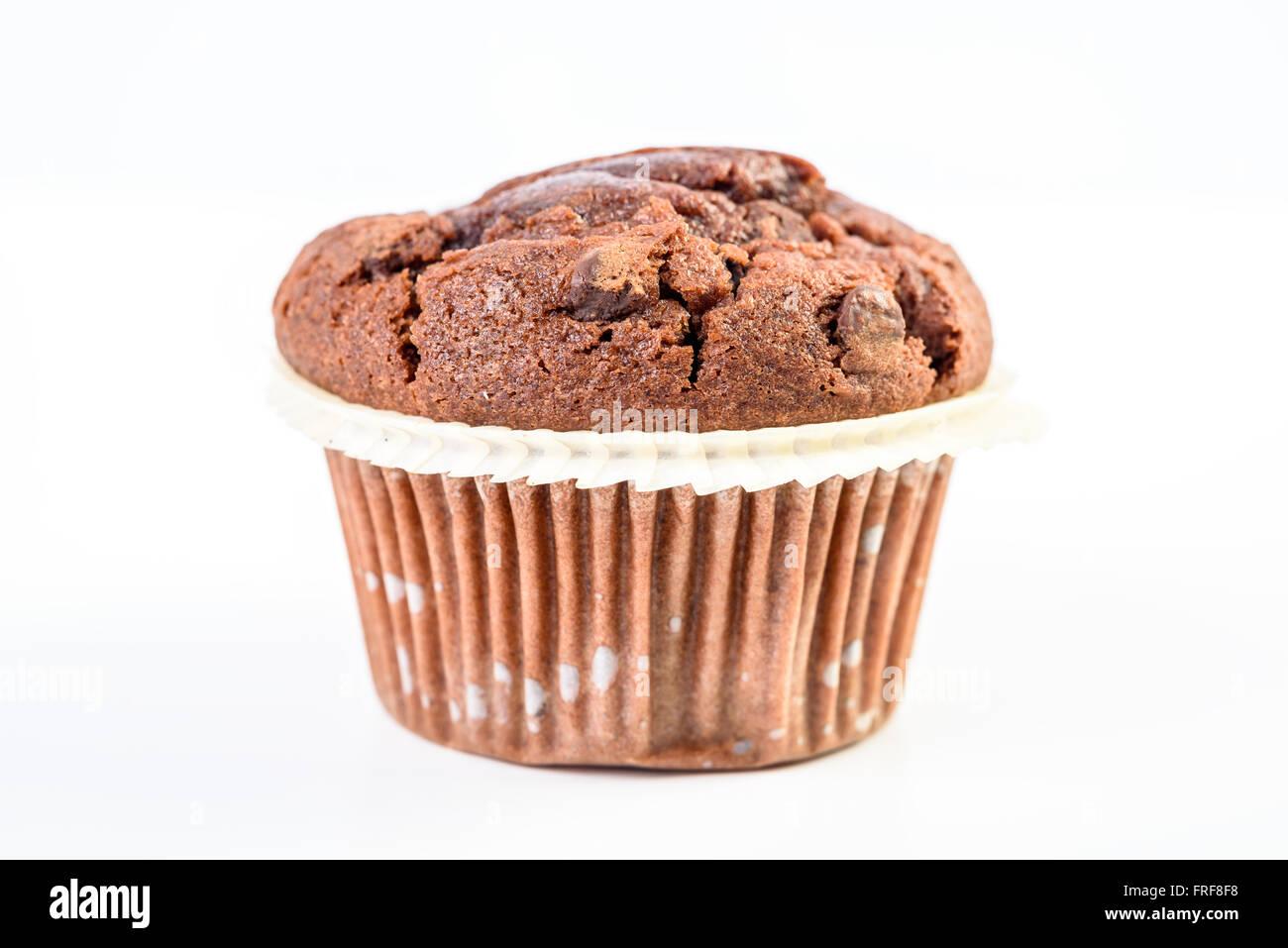 Homemade Chocolate Chip Muffin On White - Stock Image