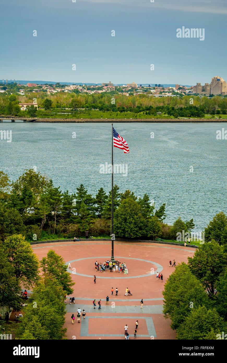 Flagpole Plaza, Liberty Island, New York City, USA. Stock Photo
