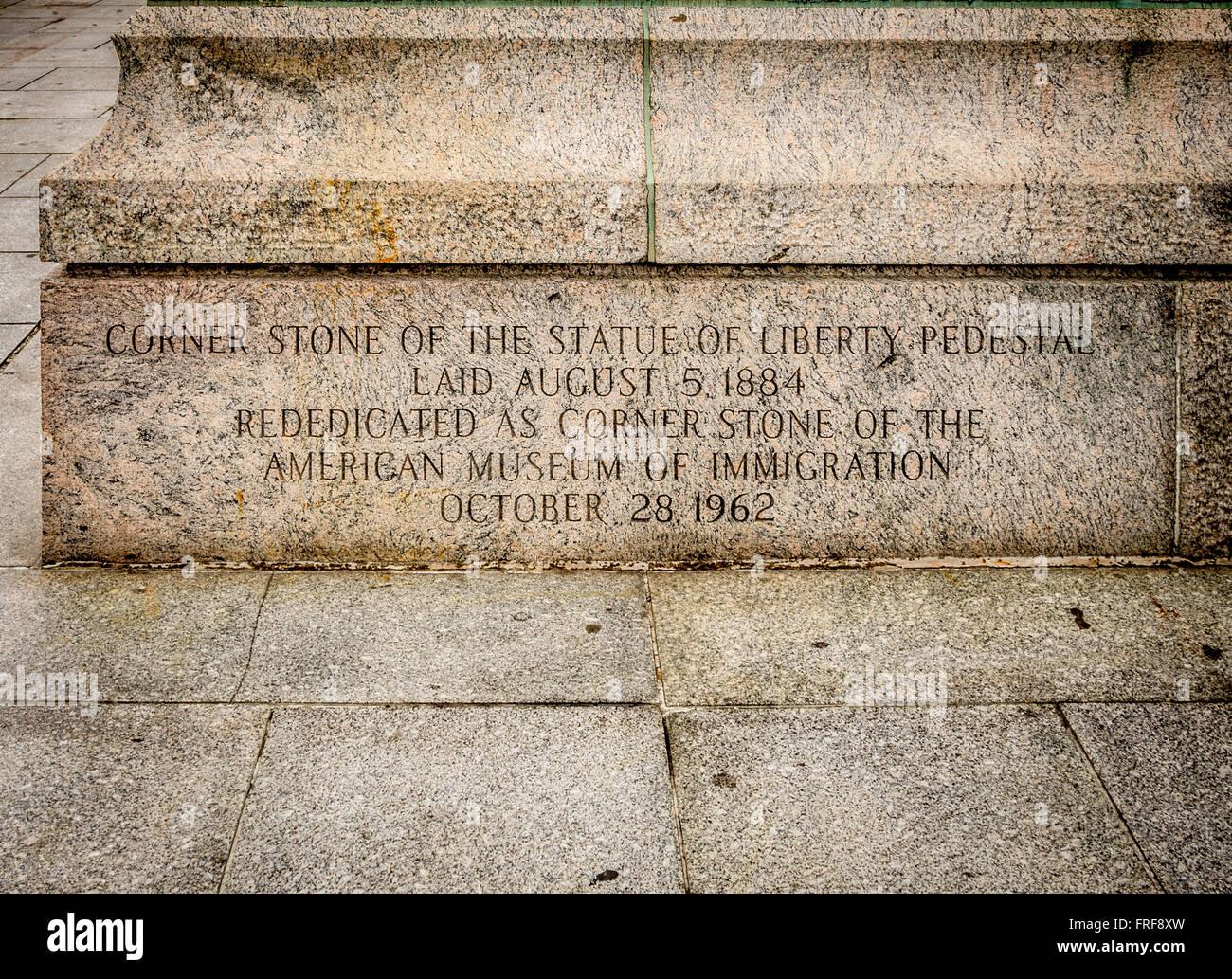 Statue of Liberty Pedestal Corner Stone, Liberty Island, New York City, USA. - Stock Image