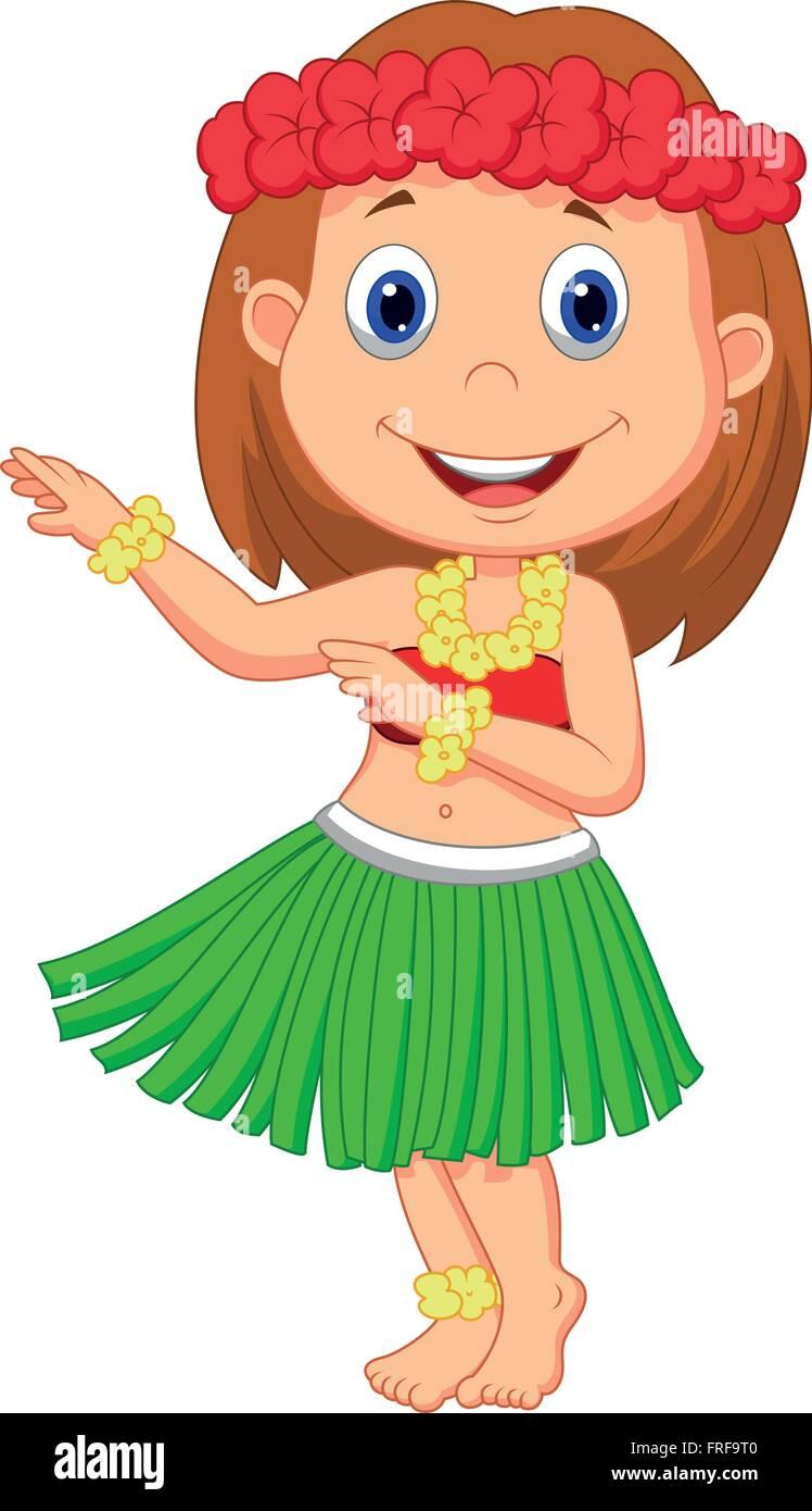 Little Hula Girl - Stock Vector