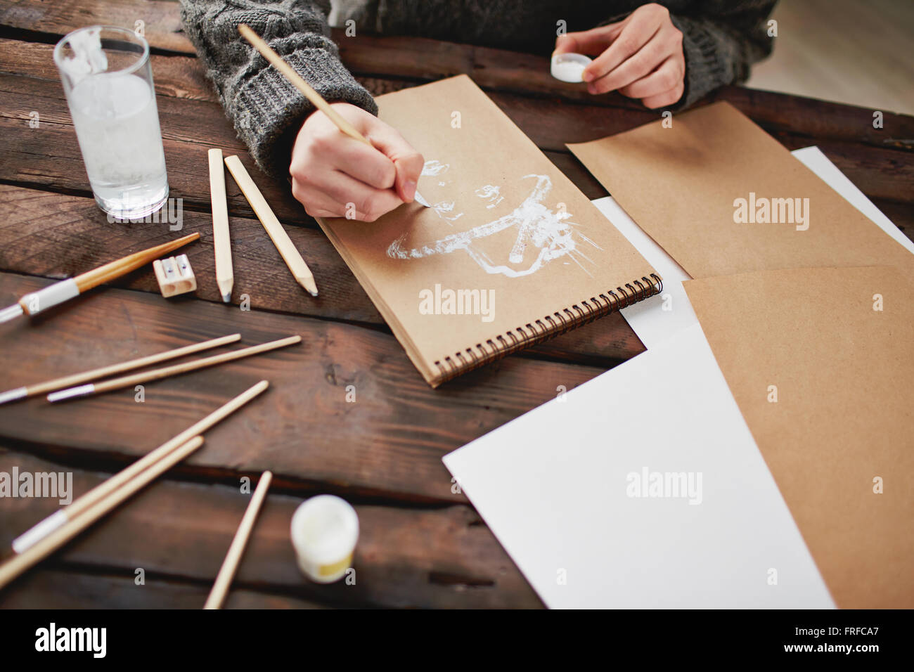 Drawing with white gouache - Stock Image