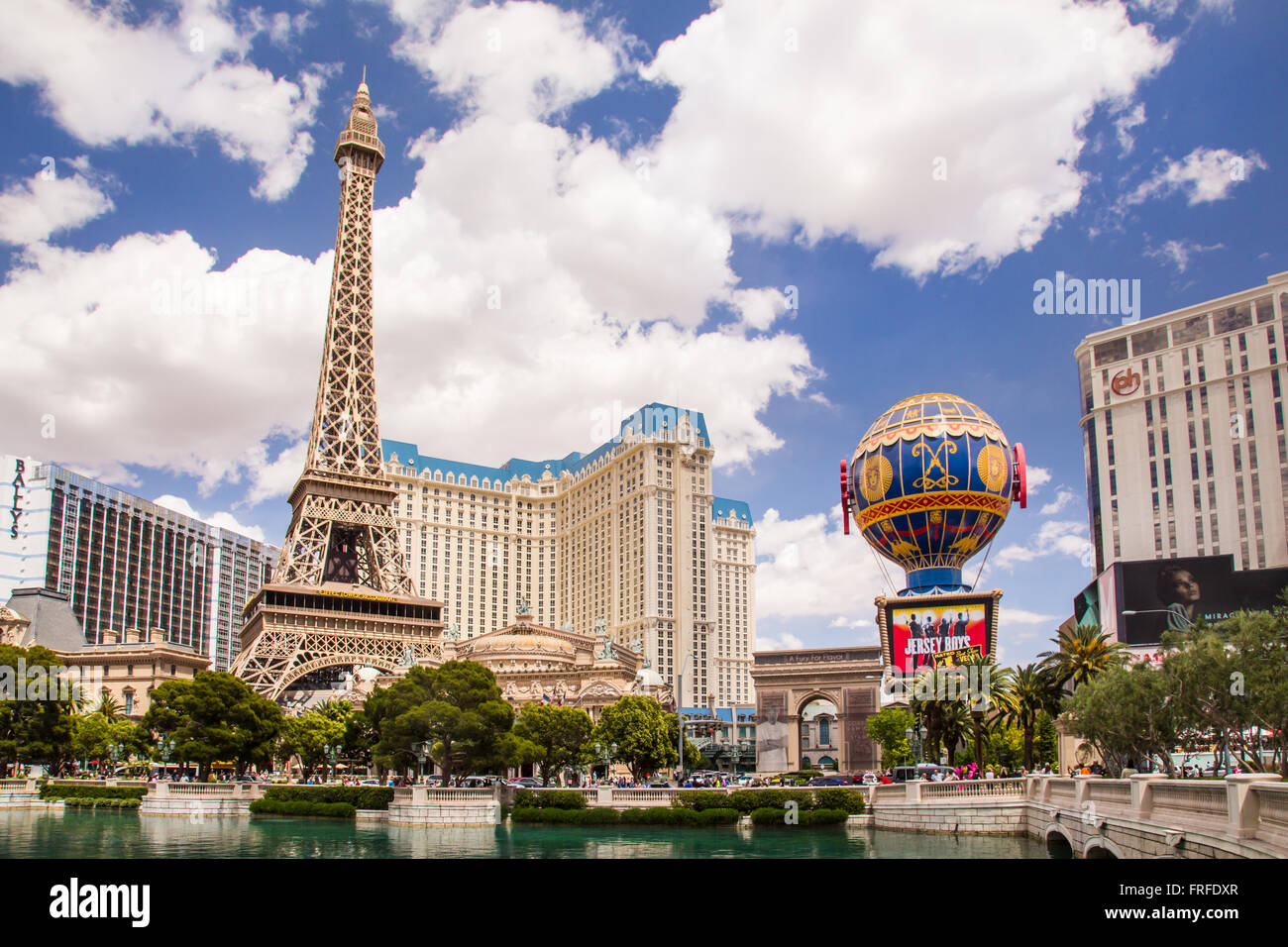 View of resort casinos along the Vegas Street in Las Vegas Nevada - Stock Image