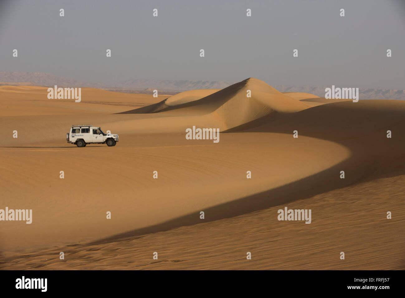 A 4x4 desert expedition vehicle climbs a sand dune at al-Galamun, near Dahkla Oasis, Western Desert, Egypt. The - Stock Image