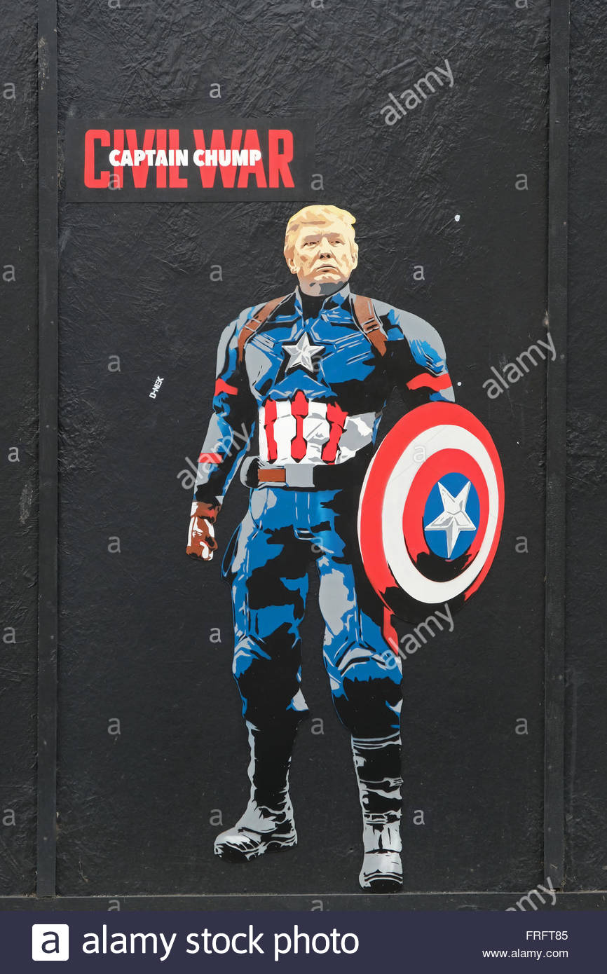 A piece of street art by D-NEK in Weston-super-Mare, UK, portrays US presidential hopeful Donald Trump as Captain Stock Photo