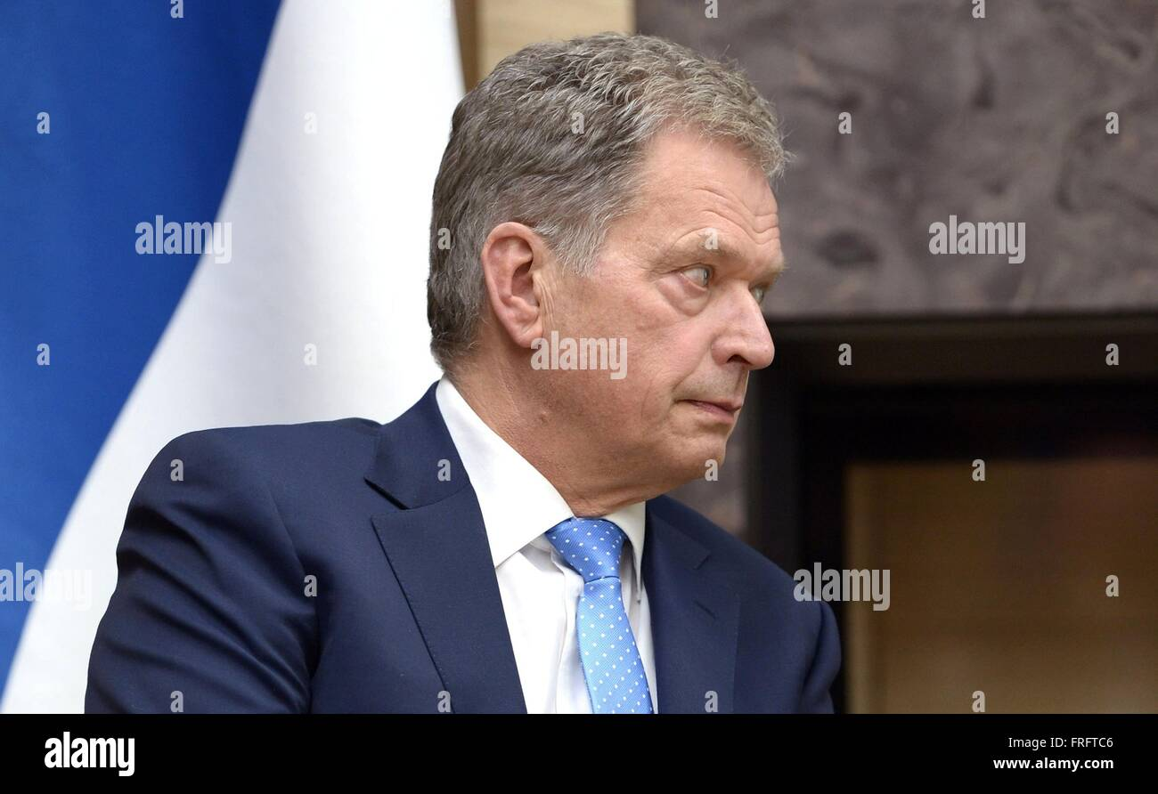 Finnish President Sauli Niinisto during a meeting with Russian President Vladimir Putin at Novo-Ogaryovo March 22, - Stock Image