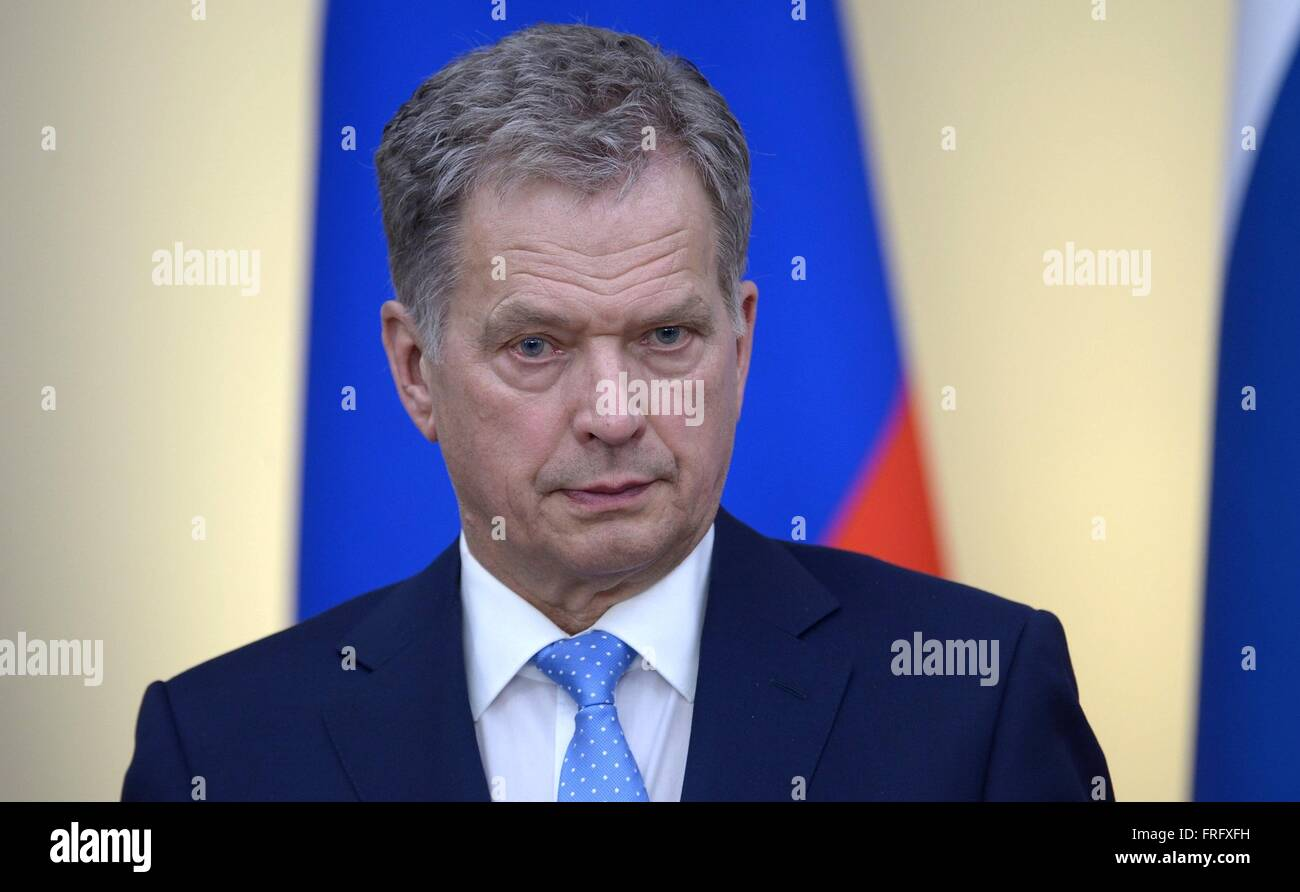 Moscow Region, Russia. 22nd Mar, 2016. Finnish President Sauli Niinisto during a joint press conference with Russian - Stock Image