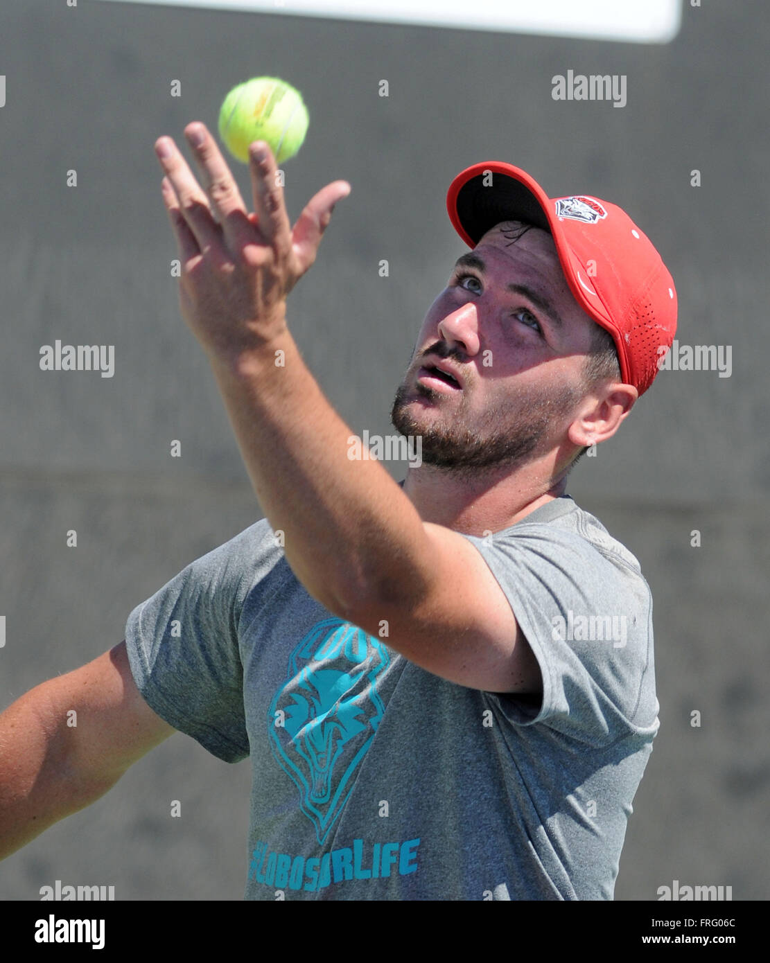 Albuquerque, NM, USA. 22nd Mar, 2016. UNM's Bart Van Leijsen makes the toss for the serve during practice Tuesday - Stock Image