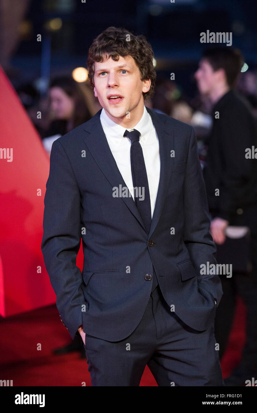 London, UK. 22 March 2016. Actor Jesse Eisenberg (Lex Luther). Warner Bros. Pictures presents the European Premiere - Stock Image