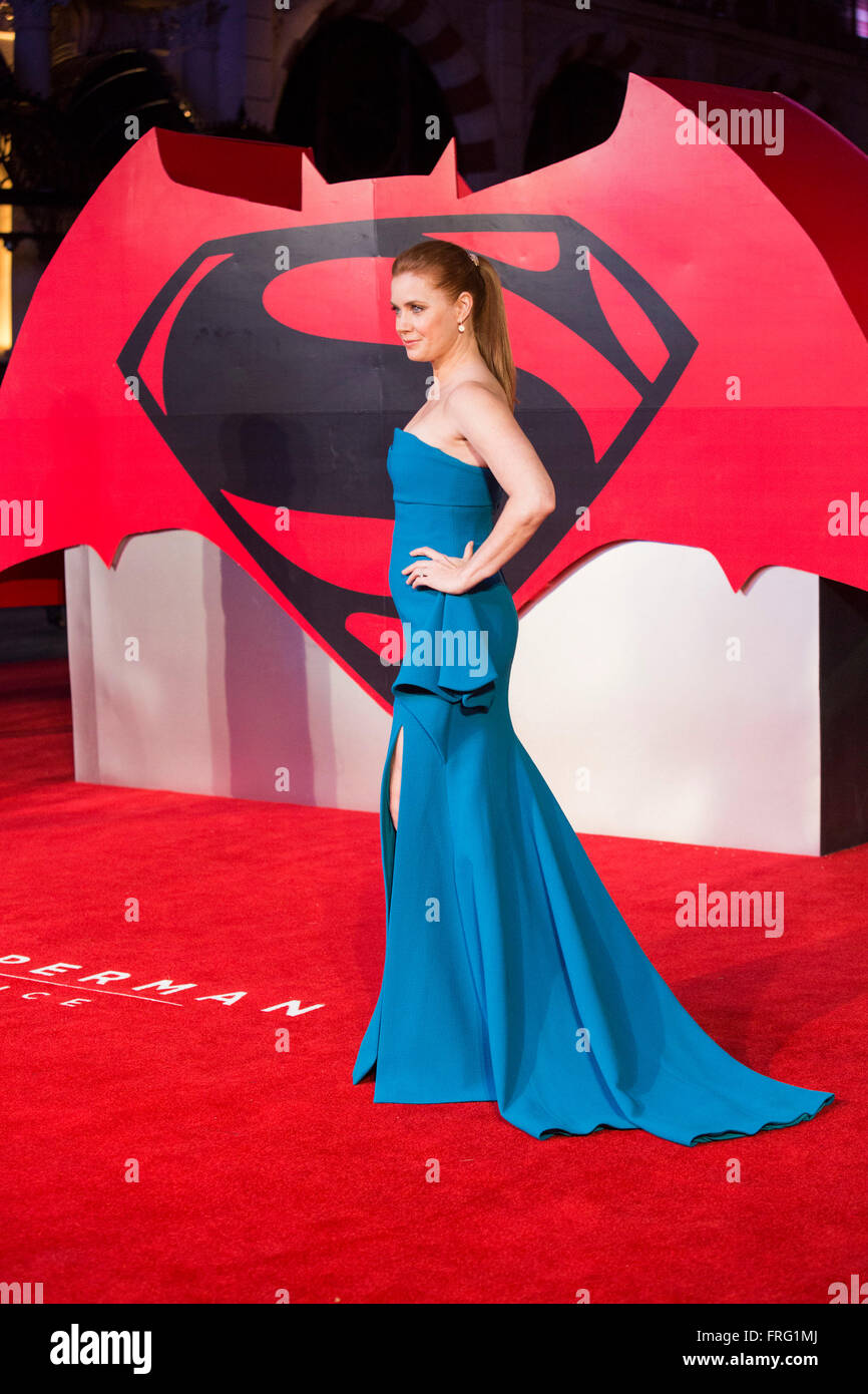 London, UK. 22 March 2016. Actress Amy Adams (Lois Lane). Warner Bros. Pictures presents the European Premiere of - Stock Image