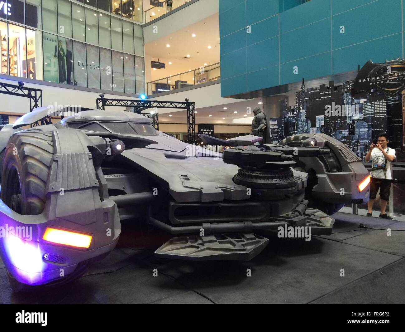 Quezon City, Philippines. 23rd Mar, 2016. Life-size Batmobile was displayed inside SM North in Quezon City in time - Stock Image