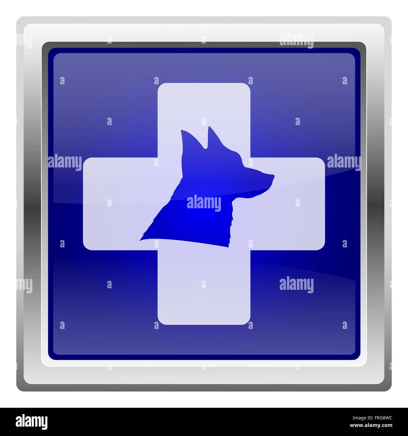 Metallic shiny icon with white design on blue background - Stock Image