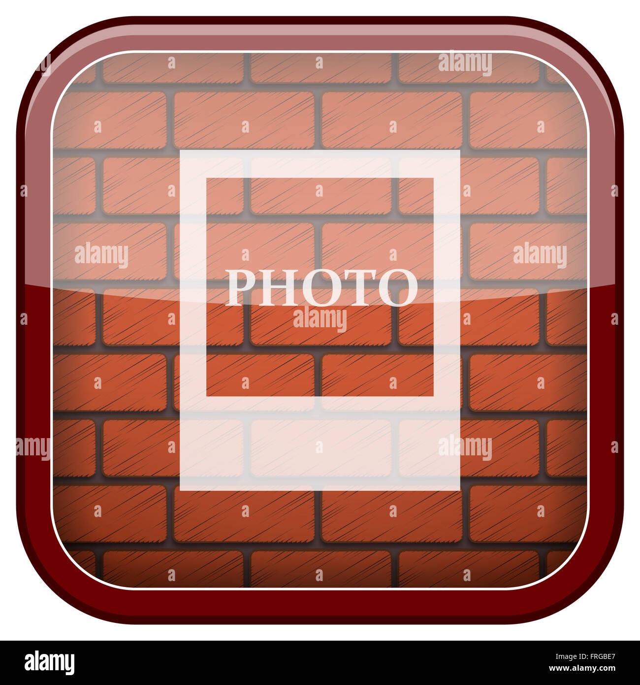 Square shiny icon with white design on bricks wall background - Stock Image