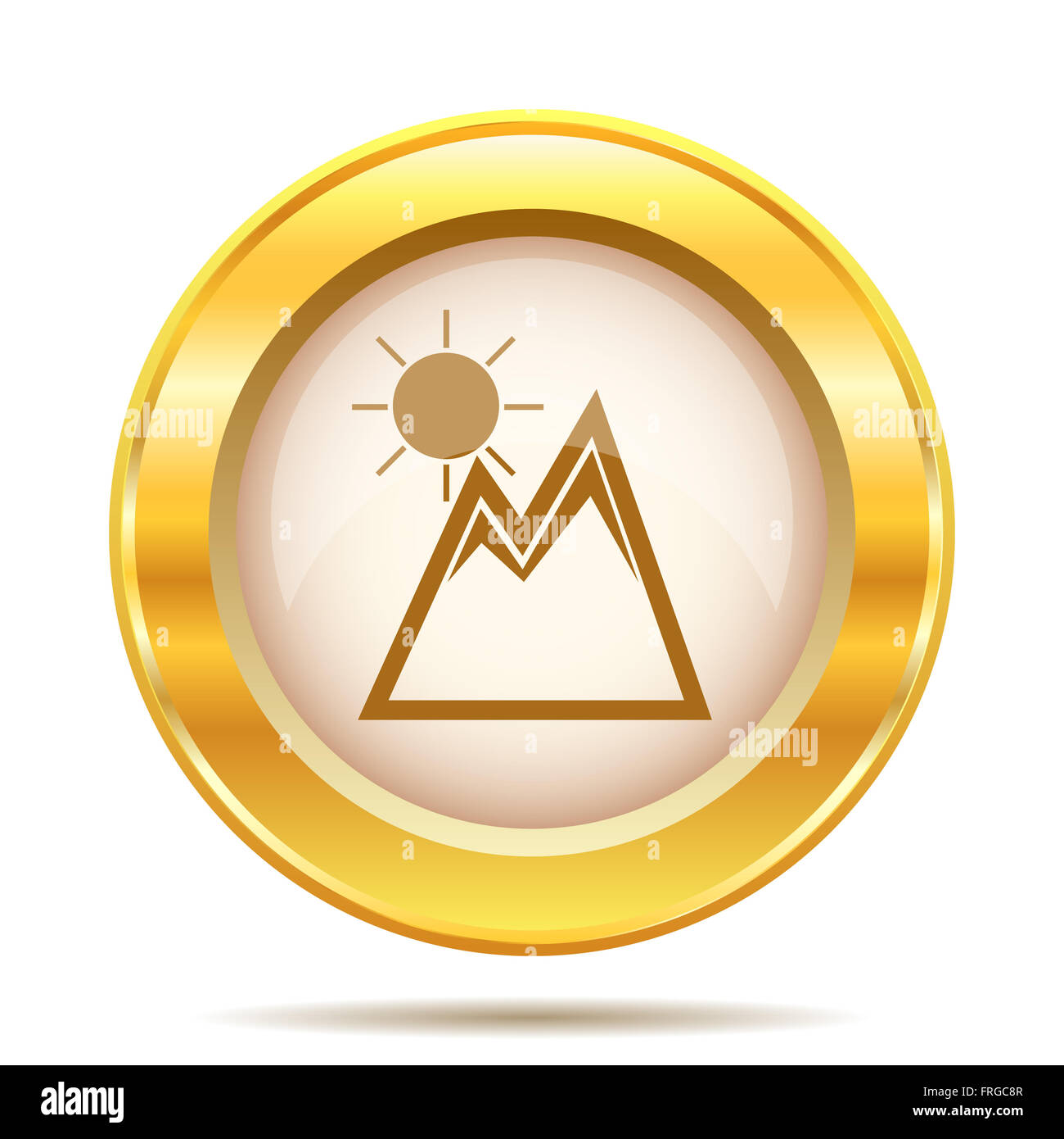 Round glossy icon with brown design on gold background - Stock Image