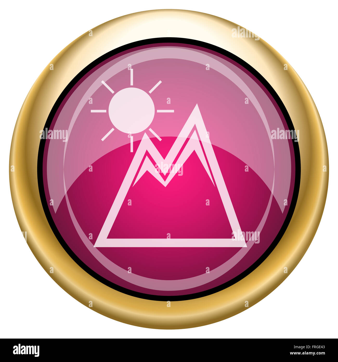 Shiny glossy icon with white design on magenta and gold background - Stock Image