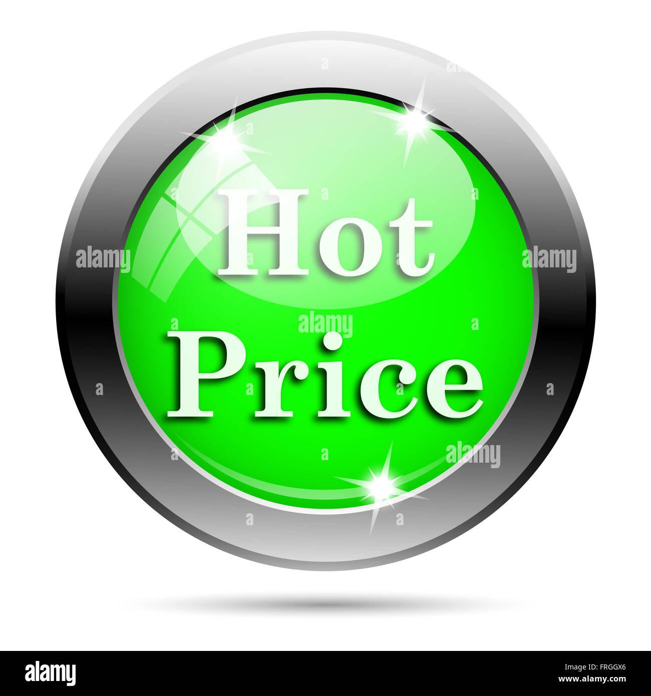 Metallic round glossy icon with white design on green background Stock Photo