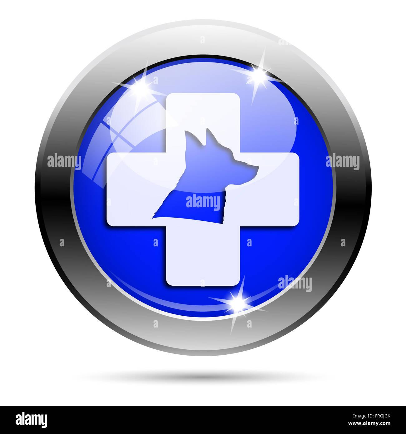 Metallic round glossy icon with white design on blue background - Stock Image