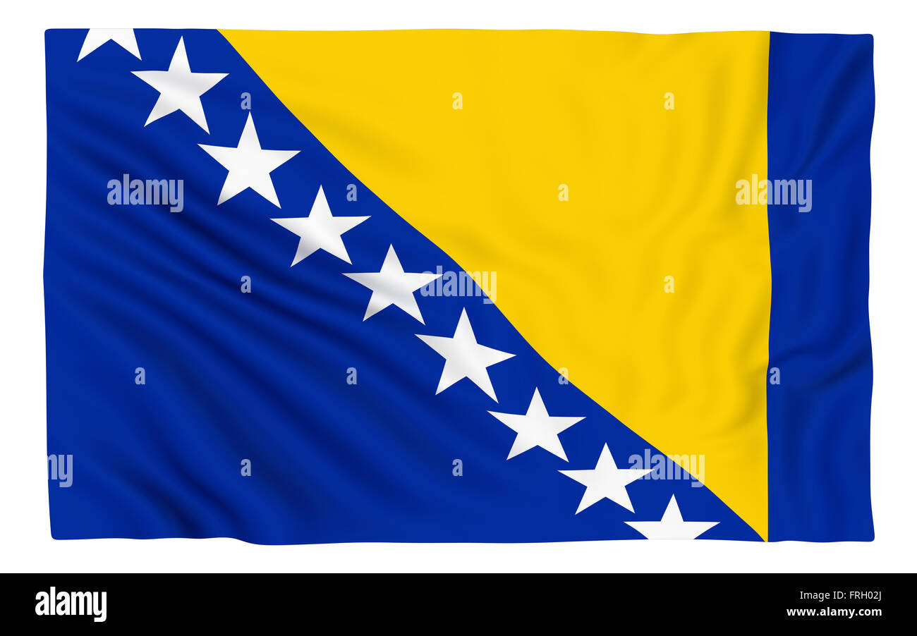 Flag of Bosnia and Herzegovina , isolated on white. - Stock Image